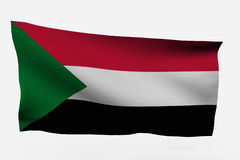 Sudan 3d flag. Isolated on white background Royalty Free Stock Photos