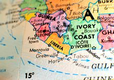 Sudan Africa focus macro shot on globe map for travel blogs, social media, website banners and backgrounds.Liberia Africa. Liberia Africa focus macro shot on royalty free stock photo
