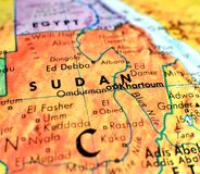 Sudan Africa focus macro shot on globe map for travel blogs, social media, website banners and backgrounds. Sudan Africa focus macro shot on globe map for stock photo