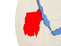 Sudan on 3D globe Stock Photos