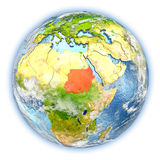 Sudan on Earth isolated. Sudan highlighted in red on planet Earth. 3D illustration isolated on white background. Elements of this image furnished by NASA Stock Photo