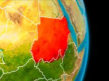 Sudan on Earth. Sudan in red on planet Earth with visible borderlines. 3D illustration. Elements of this image furnished by NASA Stock Photos