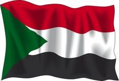 Sudan flag. Waving flag of Sudan isolated on white Stock Photo