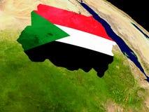 Sudan with flag on Earth Stock Photos