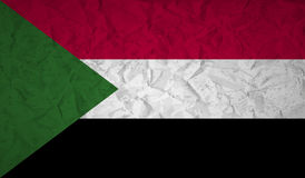 Sudan flag with the effect of crumpled paper and grunge Royalty Free Stock Photo