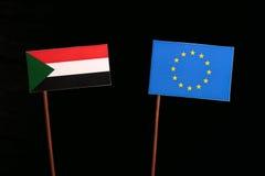 Sudan flag with European Union EU flag  on black Royalty Free Stock Photo