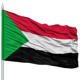 Sudan Flag on Flagpole Royalty Free Stock Images