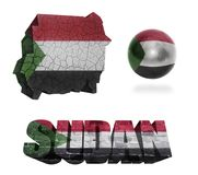 Sudan Symbols. Sudan flag and map in different styles in different textures Royalty Free Stock Photo