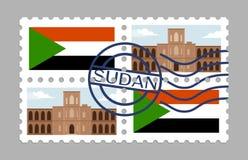 Sudan flagga och universitet av khartoum på porton stock illustrationer
