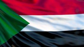 Sudan flagga Vinkande flagga av den Sudan 3d illustrationen royaltyfri illustrationer