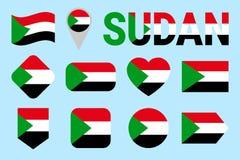 Sudan-Flaggensatz Verschiedene geometrische Formen Flache Art Sudanische Flaggensammlung Kann für Sport, Staatsangehöriger, Reise stock abbildung