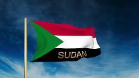 Sudan-Flaggenschieberart mit Titel Wellenartig bewegen in stock footage