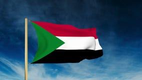 Sudan-Flaggenschieberart Wellenartig bewegen in den Wind mit stock footage