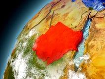 Sudan från omlopp av modellen Earth Arkivfoto
