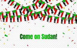 Sudan garland flag with confetti on transparent background, Hang bunting for celebration template banner, Vector illustration.  Stock Illustration
