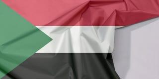 Sudan-Gewebeflaggenkrepp und -falte mit Leerraum stockfotografie