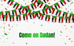 Sudan-Girlandenflagge mit Konfettis auf transparentem Hintergrund, Fallflagge für Feierschablonenfahne, Vektorillustration stock abbildung