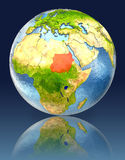 Sudan on globe with reflection. Illustration with detailed planet surface. Elements of this image furnished by NASA Stock Image