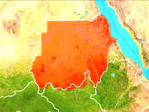 Map of Sudan. Sudan highlighted in red from Earth's orbit. 3D illustration. Elements of this image furnished by NASA Stock Image