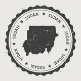 Sudan hipster round rubber stamp with country map. Royalty Free Stock Photography