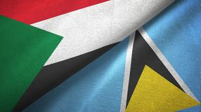 Sudan Lucia i święty dwa flagi tekstylny płótno, tkaniny tekstura royalty ilustracja