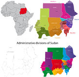 Sudan map. Administrative division of the Republic of the Sudan Royalty Free Stock Image