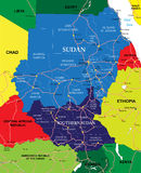 Sudan map. Highly detailed vector map of Sudan with administrative regions, main cities and roads Royalty Free Stock Images