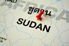 Sudan map. Macro shot of sudan map with push pin Stock Photography