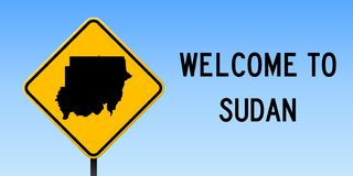 Sudan map on road sign. Wide poster with Sudan country map on yellow rhomb road sign. Vector illustration stock illustration