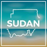 Sudan map rough outline against the backdrop Stock Photos