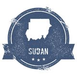 Sudan mark. Travel rubber stamp with the name and map of Sudan, vector illustration. Can be used as insignia, logotype, label, sticker or badge of the country Royalty Free Stock Photos