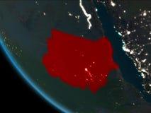 Sudan på natten från omlopp royaltyfri illustrationer
