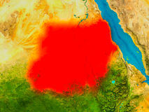 Sudan on physical map Royalty Free Stock Photography