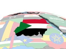 Flag of Sudan on bright globe. Sudan on political globe with embedded flags. 3D illustration Stock Photography