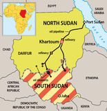 Sudan political map. With new borders. Vector illustration of actual political situation in Sudan, Africa, 2011 Stock Photos