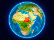 Sudan on Earth. Sudan in red from Earth's orbit. 3D illustration. Elements of this image furnished by NASA Royalty Free Stock Photography