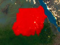 Sudan in red at night. Satellite night view of Sudan highlighted in red on planet Earth. 3D illustration. Elements of this image furnished by NASA Stock Photos