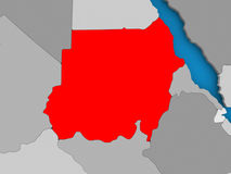 Map of Sudan. Sudan in red on political map. 3D illustration Royalty Free Stock Photography