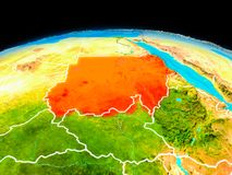 Sudan in red. Satellite view of Sudan highlighted in red on planet Earth with borderlines. 3D illustration. Elements of this image furnished by NASA Royalty Free Stock Images