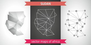 Sudan set of grey and silver mosaic 3d polygonal maps. Graphic vector triangle geometry outline shadow perspective maps. Set of Sudan polygonal mosaic modern Stock Photo
