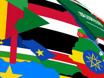 Sudan and South Sudan on 3D map with flags Stock Photography