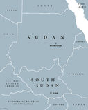 Sudan and South Sudan political map. With capitals Khartoum and Juba. Two republics in Eastern Africa, with national borders and neighbor countries. Gray Royalty Free Stock Photos