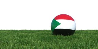 Sudan Sudanese flag soccer ball lying in grass world cup 2018. Isolated on white background. 3D Rendering, Illustration Royalty Free Stock Photo