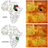 Sudan&tanzania on africa map Royalty Free Stock Photo