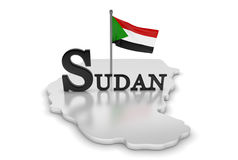Sudan Tribute. 3D rendered scene with flag and logo Royalty Free Stock Images