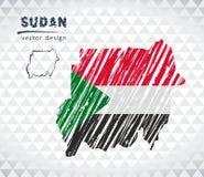 Sudan vektoröversikt med flaggainsidan som isoleras på en vit bakgrund Skissa drog illustrationen för krita handen vektor illustrationer
