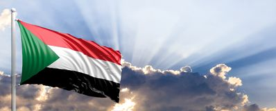 Sudan flag on blue sky. 3d illustration Stock Images