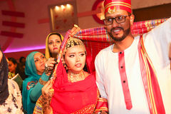 Sudan wedding. Bride and groom in photo-booth. Wedding royalty free stock photo