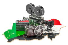 Sudanese cinematography, film industry concept. 3D rendering. Isolated on white background Stock Photos