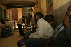 Sudanese refugees hanging out in a restaurant in Cario. Stock Images